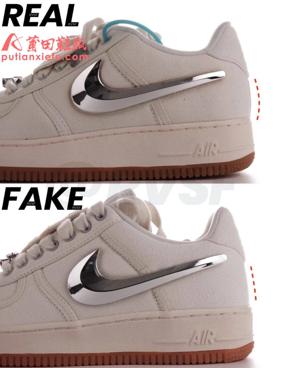 Travis Scott x Air Force 1米白换勾真假对比