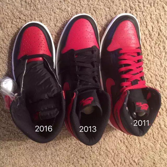 Air Jordan1黑红禁穿近三次复刻对比区别