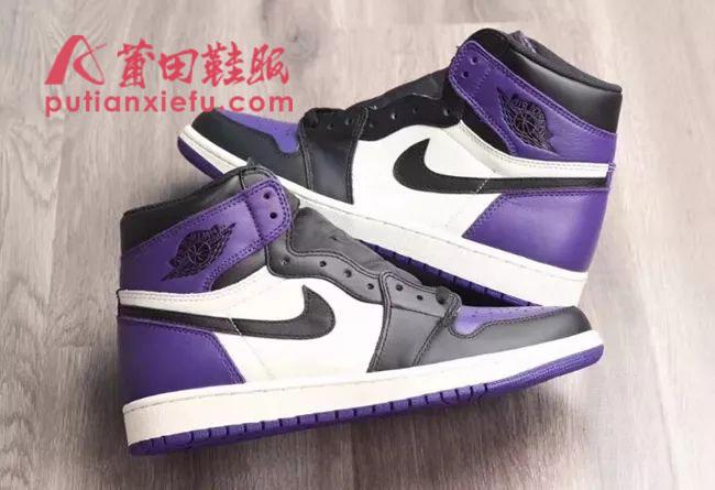 Air Jordan 1  Court Purple 黑紫脚趾 真假对比