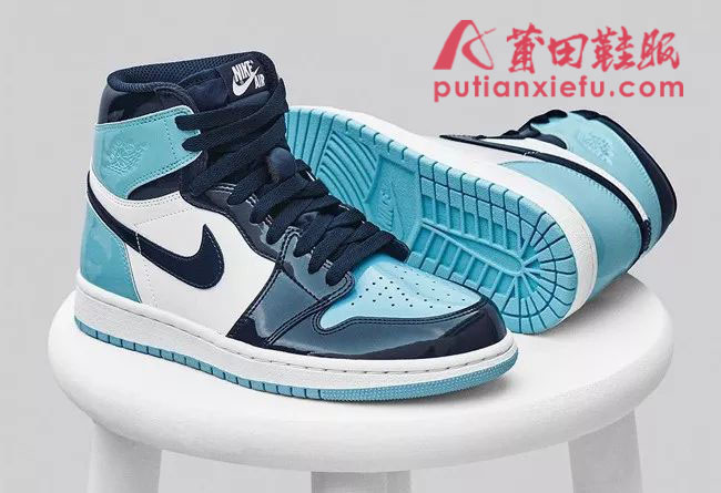 2019全明星Air Jordan 1 Blue Chill 北卡蓝 漆皮 真假对比
